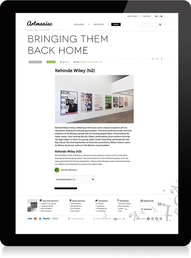 Artmaniac article - Michael van Houten